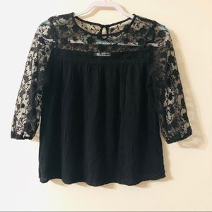 Maurice's Black Lace Sleeve Top